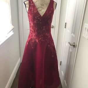 Teri Jon Red Beaded cocktail Dress Sz 4